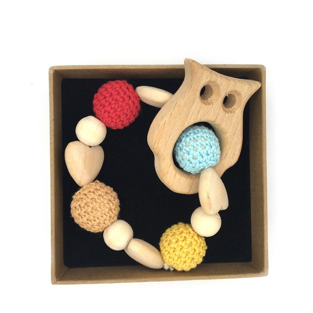 Coskiss mordedor de pulsera de madera y ganchillo